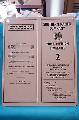 Southern Pacific Employee Timetable #2, Yuma Division, April 29, 1956