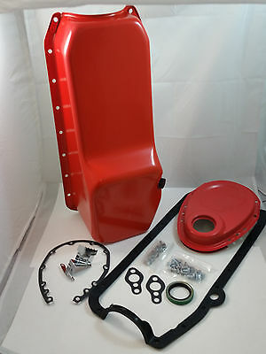 SB Chevy SBC Orange Oil Pan & Timing Cover Kit W/ Bolts & Gaskets 58-79 327 350
