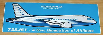 Old Fairchild Aerospace 728JET Airline Sticker