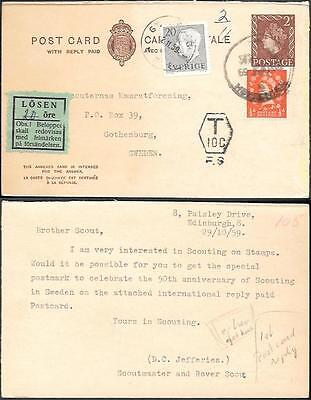England Postal Stationery Card to Sweden 1959. Postage Due Additional Fee label