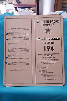 Southern Pacific Employee Timetable #194, Los Angeles Division, Sept. 24, 1950