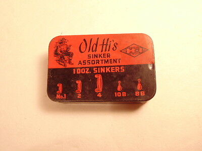 """Older tin of """"Old Hi's Sinker Assortment"""" with all 12 sinkers"""