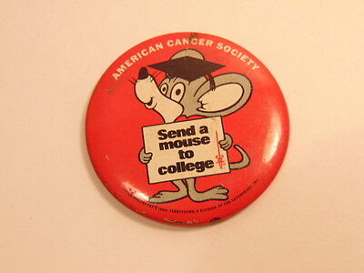 older American Cancer Society pin: Send a Mouse to College