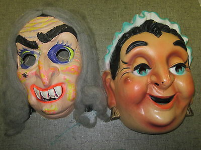 Vintage Halloween Masks Adult (2) Gray Hair Witch Jolly Old Lady Funny 1960's