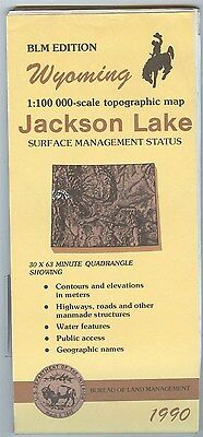 USGS BLM edition topographic map Wyoming JACKSON LAKE 1990