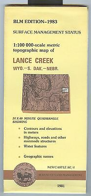 USGS BLM edition topographic map Wyoming LANCE CREEK 1983