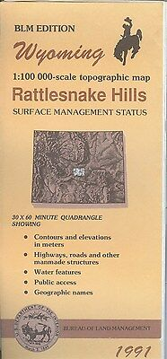 USGS BLM edition topographic map Wyoming RATTLESNAKE HILLS 1991