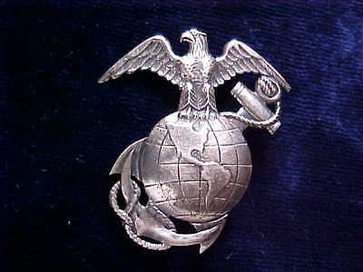 Very Rare Big 1-3/4 Inch Ww1 Usmc Sterling Unusual Detailed Ega Emblem