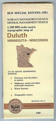 USGS BLM edition topographic map Minnesota Wisconsin DULUTH 1981 mineral