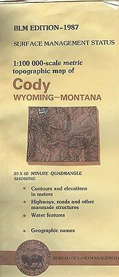 USGS BLM edition topographic map Wyoming Montana CODY 1987