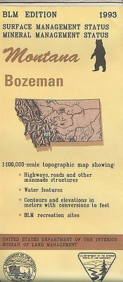USGS BLM edition topographic map Montana BOZEMAN 1993 mineral
