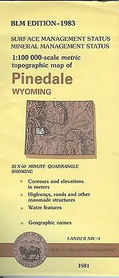 USGS BLM edition topographic map Wyoming PINEDALE 1983 mineral