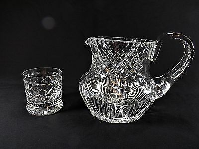 Finest Antique Cut Crystal Water Pitcher & Tumbler Diamond Thumbprint Ex. Cond!