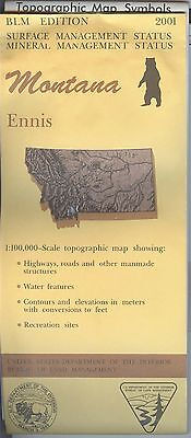 USGS BLM edition topographic map Montana ENNIS 2001 mineral