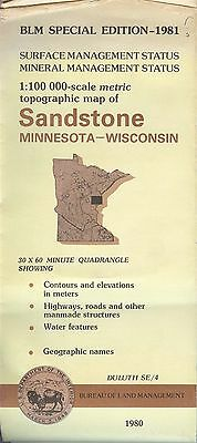 USGS BLM edition topographic map Minnesota SANDSTONE 1981 mineral