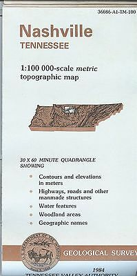 US Geological Survey topographic map metric Tennessee NASHVILLE 1984 TVA