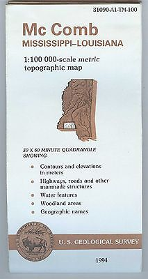 US Geological Survey topographic map metric Mississippi LA McCOMB 1994