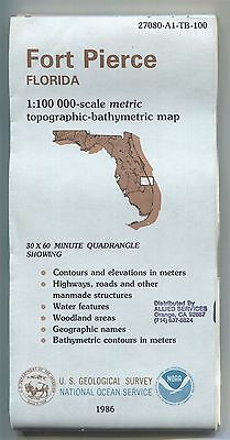 US Geological Survey NOAA topographic bathymetric map FORT PIERCE 1986 - stamped