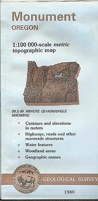 US Geological Survey topographic map metric MONUMENT Oregon 1980