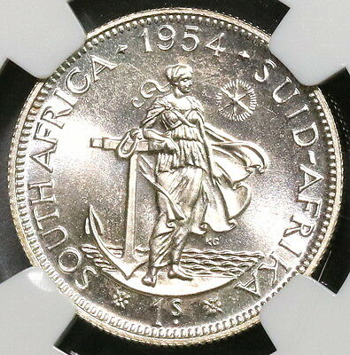1954 NGC PF 65 SOUTH AFRICA Proof Silver 1 Shilling Coin (16111824C)