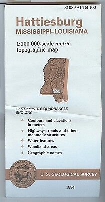 US Geological Survey topographic map metric HATTIESBURG Mississippi LA 1994