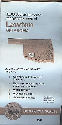 US Geological Survey topographic map metric LAWTON Oklahoma 1981 Fort Sill