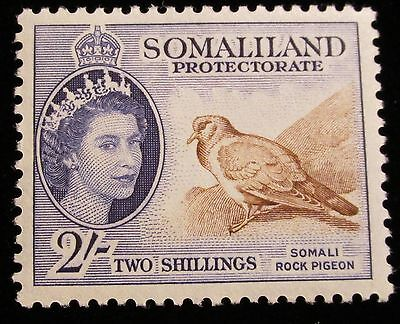 Br. Somaliland Protectorate, 1953, SC 137, 2sh violet & brown rock pigeon, MLH