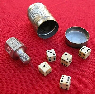Antique Pocket Gamling Assortment ~ 5 Mini Dice With Container + Put & Take