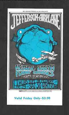 Jefferson Airplane Flamin' Groovies Mother Earth Fillmore Concert Ticket 1967
