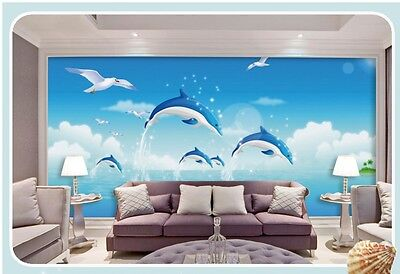 M-S Modern Simple Style Dolphin Pattern Background Living Room Bedroom WallPaper