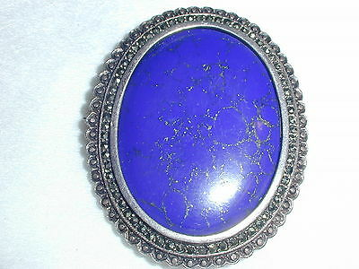 Gorgeous! Bold Sterling Real Lapis Brooch/ Pendant- Vintage!