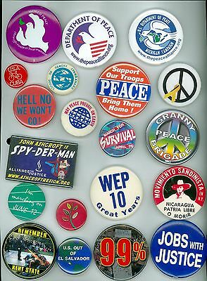 20 Vintage 70s 2000s Peace & Anti-War Pinback Buttons Peace Support Our Troops