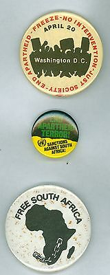 3 Vintage 1970s-80s End Apartheid South Africa Liberation Pinback Buttons