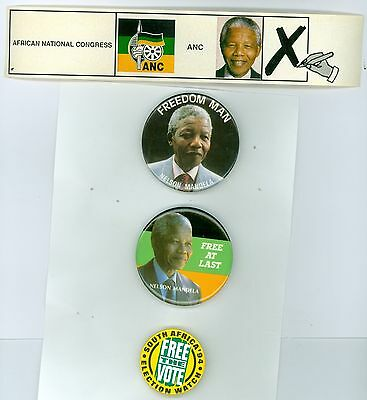 3 Vintage 1994 Nelson Mandela Pinback Buttons & 1 S. African ANC Vote Sticker