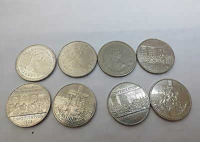 Nice lot of 8 Canadian $ 1.00 coin 1982 and 1984 J.Cartier/Confederation