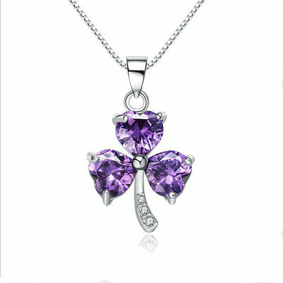 Womens 925 Sterling Silver Necklace Chain Amethyst Crystal Heart Purple Pendant