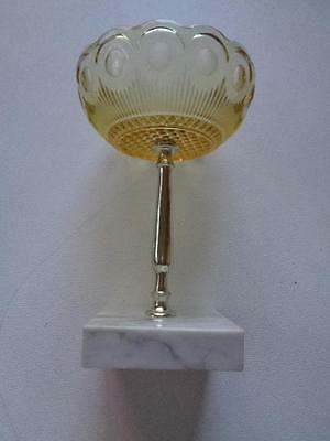"Vintage Candy Soap Keys Dish Marble Base Yellow Glass 6 1/2"" Tall x 4 1/4"" Wide"