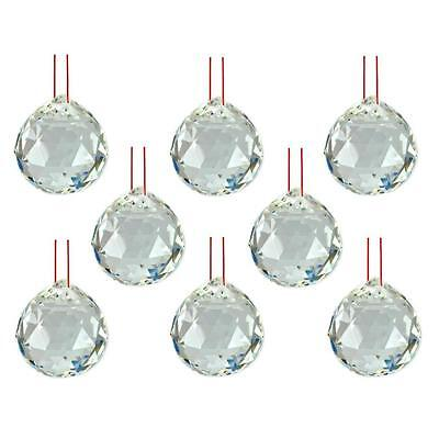 """LOT of 8 FENG SHUI HANGING CRYSTAL BALL 1.5"""" 40mm Sphere Prism Faceted Wholesale"""