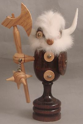 """Carved Wood Viking Figure with Hanging Flail, Shield, Battle Ax 9.5"""""""