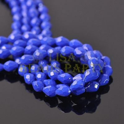 New Arrival 20pcs 12X8mm Teardrop Faceted  Loose Spacer Glass Beads Royal Blue