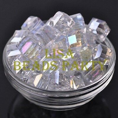 Hot 5pcs 14mm Big Cube Square Faceted Crystal Glass Loose Spacer Beads Clear AB