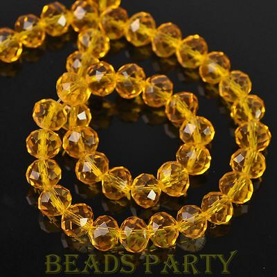 Hot 20pcs 10X7mm Crystal Glass Rondelle Faceted Loose Spacer Beads Gold Yellow