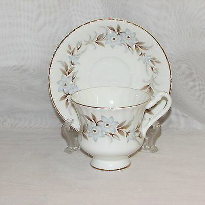 Royal Standard Dawn Footed Cup & Saucer Fine Bone China England Blue Flowers