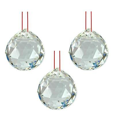 "LOT of 3 FENG SHUI HANGING CRYSTAL BALL 1.25"" 30mm Sphere Prism Healing Faceted"