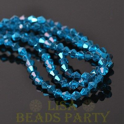 New Arrival  200pcs 4mm Bicone Faceted Loose Spacer Glass Beads Lake Blue