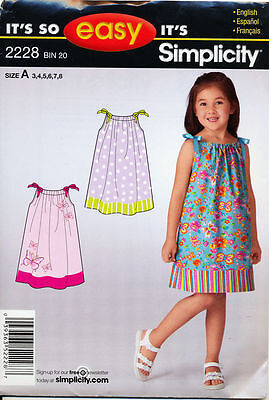 Simplicity Sewing Pattern 2228 Girls Sz 3-8 Easy Dress, Pillowcase Fashion Style