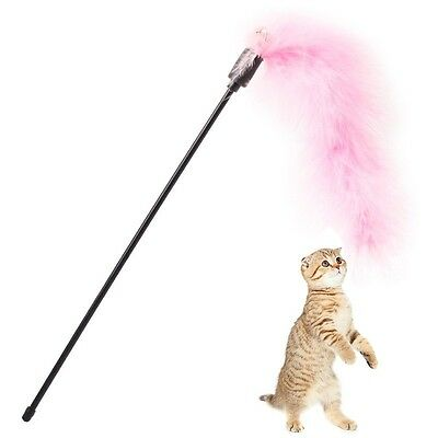 Pet Cat Cute Feather Toys Kitten Teaser Wand With Bell Funny Interactive Rod