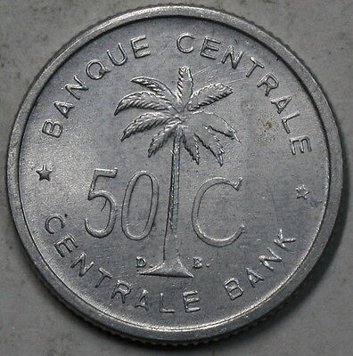 1955 Belgian Congo Ruanda Urundi 50 Centimes Palm Tree Coin LOT C (16062124R)
