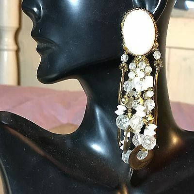 VTG Oversized Earrings Runway Drop Lucite Statement Cluster Dangle Acrylic Large
