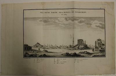 Pondicherry India 1779 Guillaume Le Gentil Antique Copper Engraved City View**
